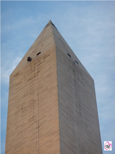 Engineer rappelling washington monument