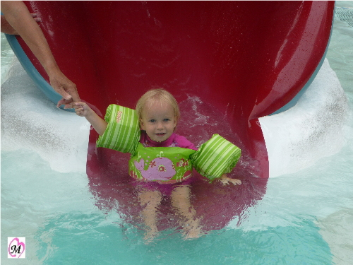 1 year old on water slide