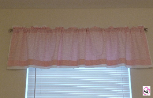 gingham pink curtain homemade