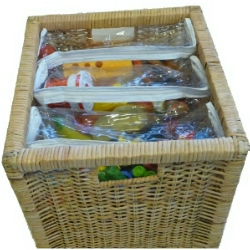 Store bags in bins or toy chest